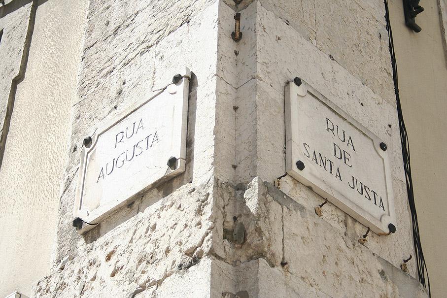 Fotografia Placas da Rua Augusta e Rua de Santa Justa, Baixa Lisboa