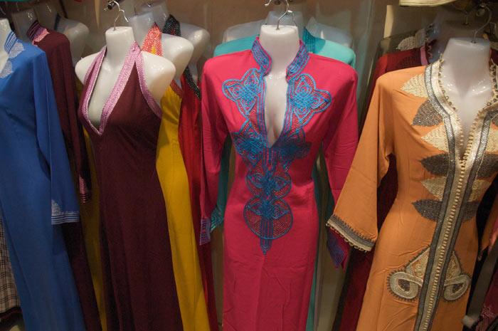 Photo clothes Marrakesh shop medina souk with traditional Moroccan clothes