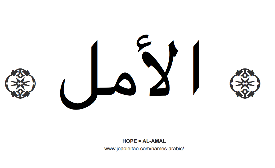 Word Hope in Arabic = AL-AMAL