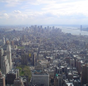 downtown manhattan from the top of empire state building