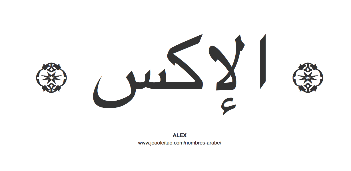 Alex en árabe, nombre Alex en escritura árabe, Cómo escribir Alex en árabe
