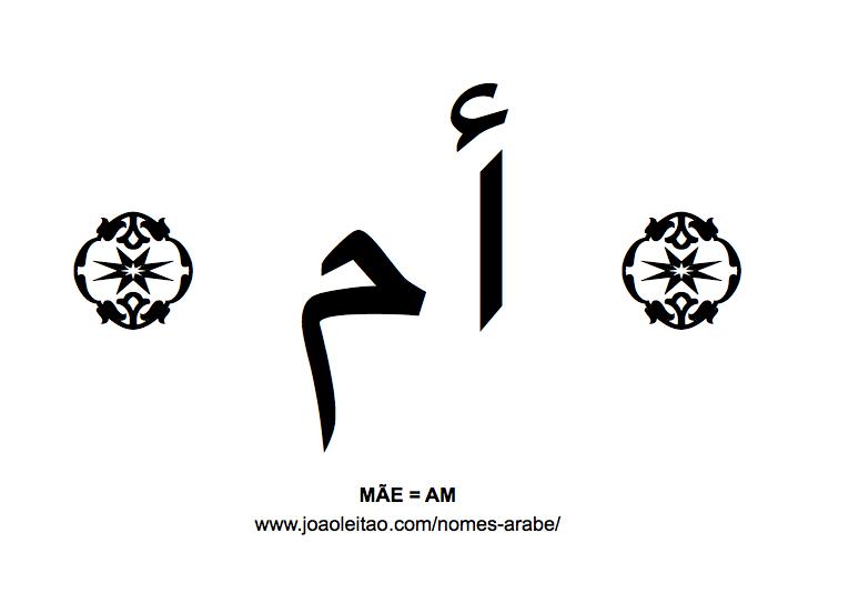 Palavra MÃE escrita em árabe, AM - أم