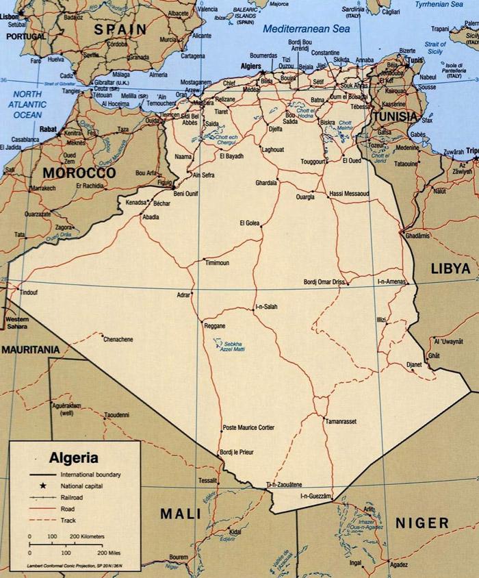 Mapa da Argelia