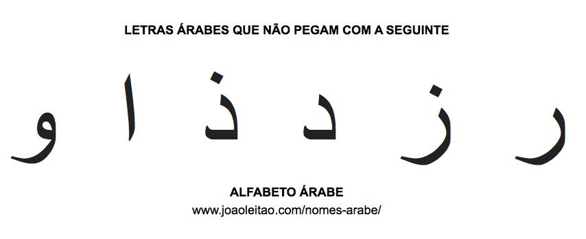 Letras arabes que nao pegam na palavra