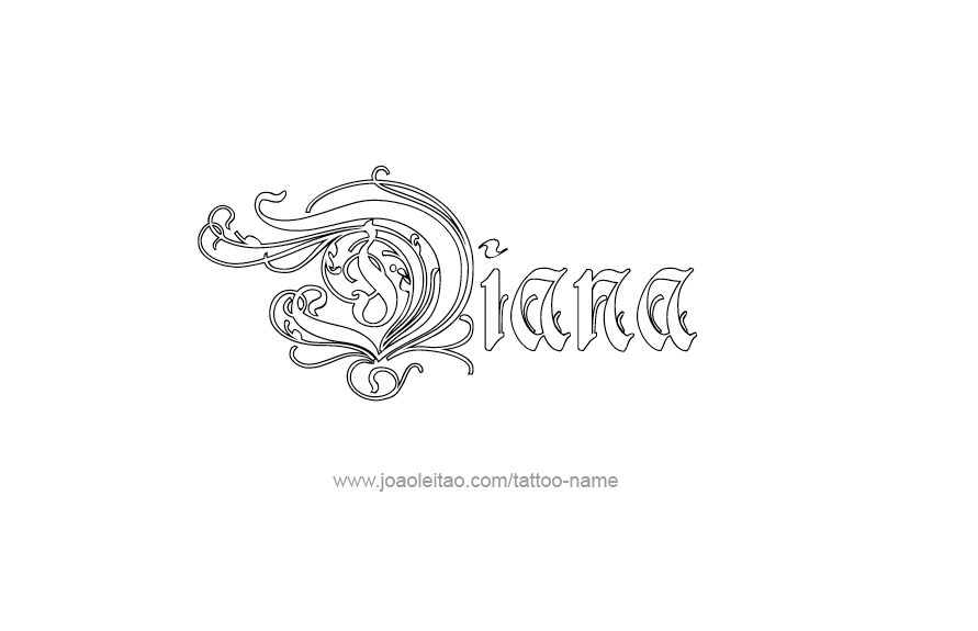 diana name tattoo designs. Black Bedroom Furniture Sets. Home Design Ideas
