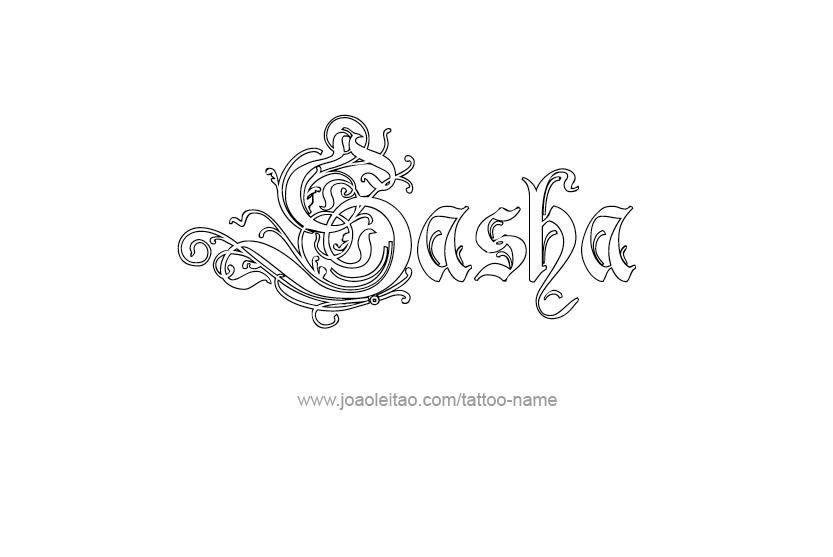 sasha name tattoo designs. Black Bedroom Furniture Sets. Home Design Ideas