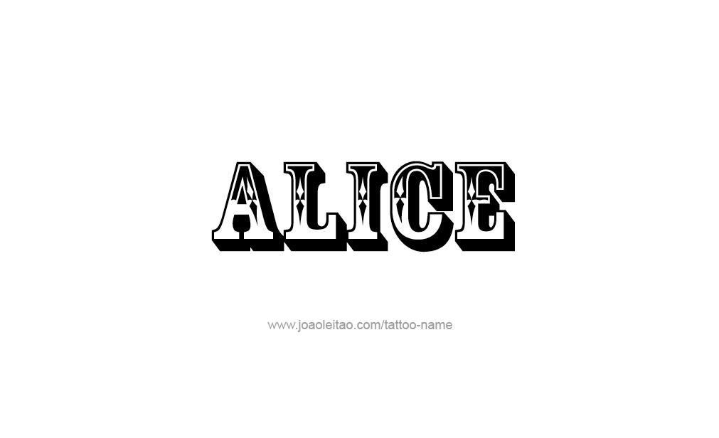 alice name tattoo designs. Black Bedroom Furniture Sets. Home Design Ideas