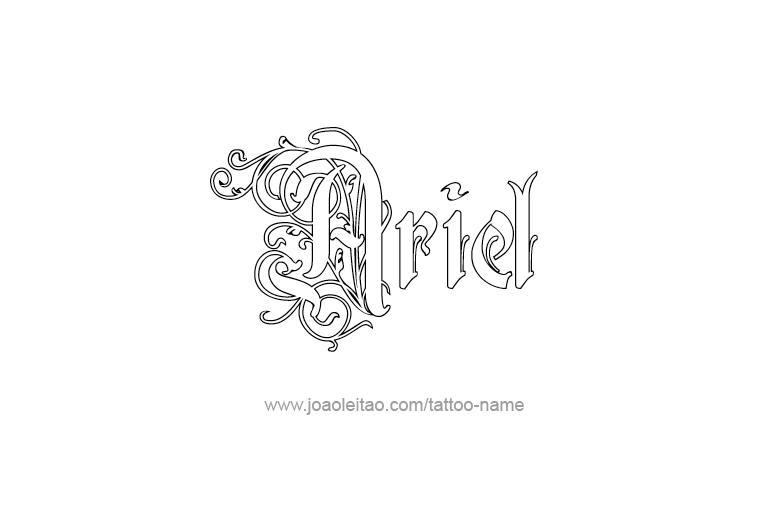 ariel name tattoo designs. Black Bedroom Furniture Sets. Home Design Ideas