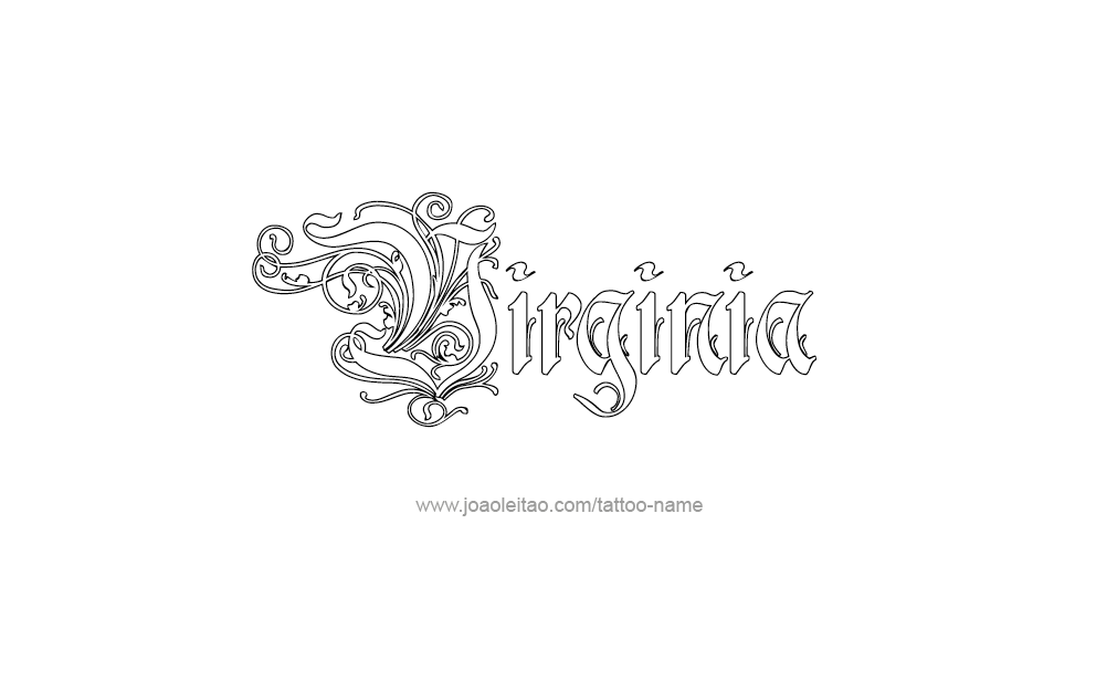 virginia name tattoo designs. Black Bedroom Furniture Sets. Home Design Ideas