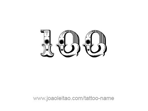 hundred 100 number tattoo designs tattoos with names. Black Bedroom Furniture Sets. Home Design Ideas