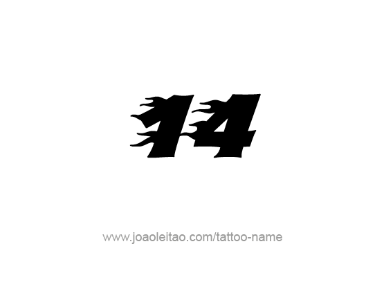 Number 14 Tattoo Designs