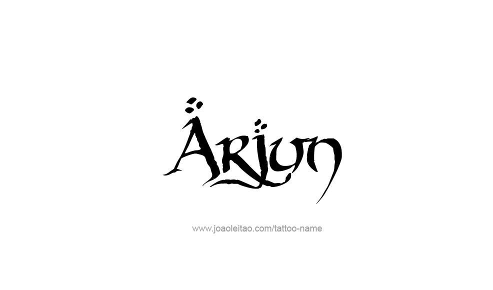 Arjun Name Tattoo Design