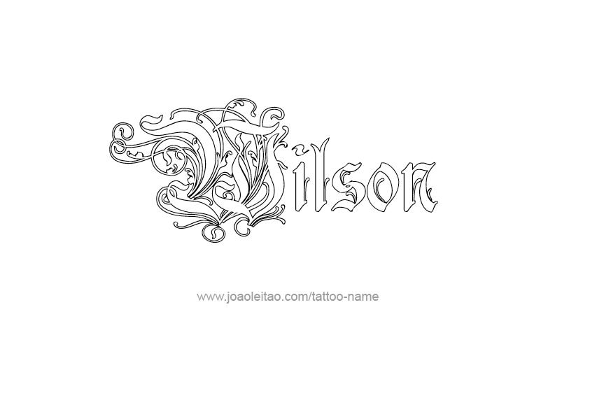 wilson name tattoo designs. Black Bedroom Furniture Sets. Home Design Ideas