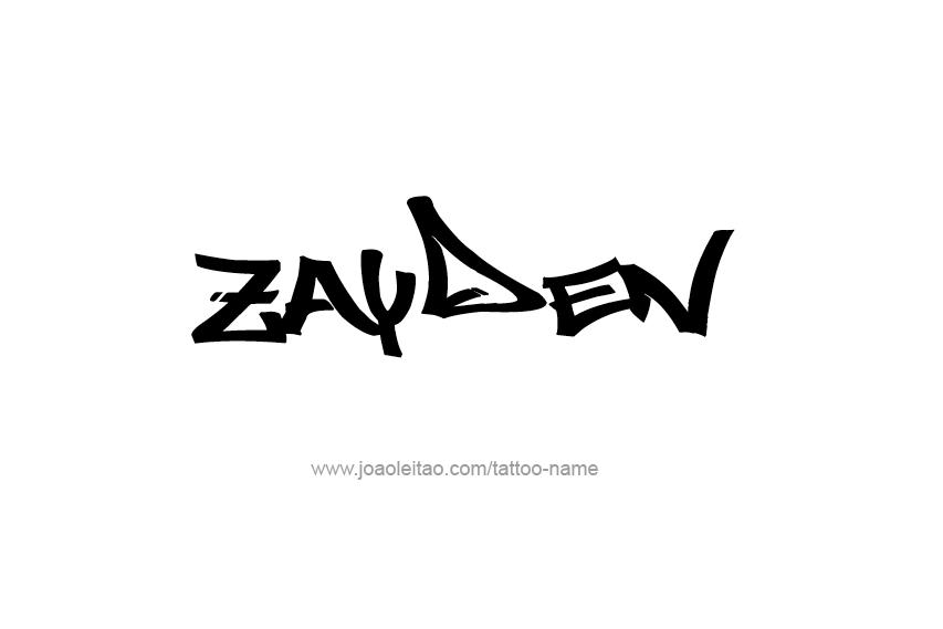 zayden name tattoo designs