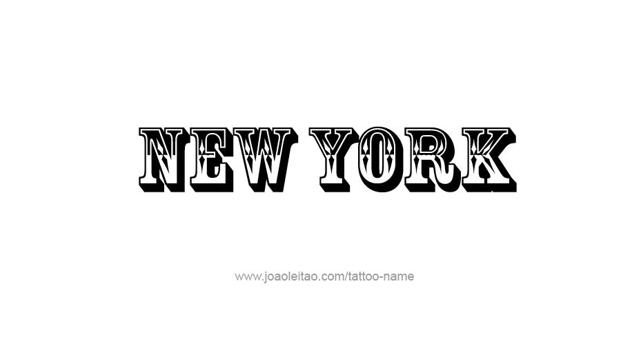 New Name: New York USA State Name Tattoo Designs