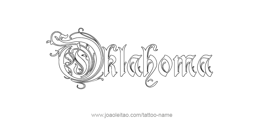 Oklahoma usa state name tattoo designs tattoos with names for Tattoo oklahoma city ok