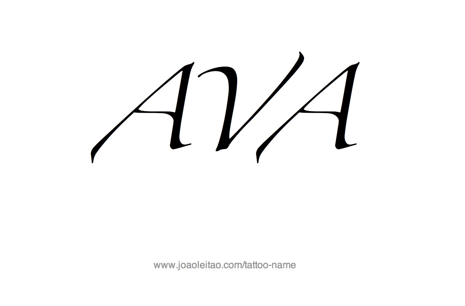 Ava Name Tattoo Design