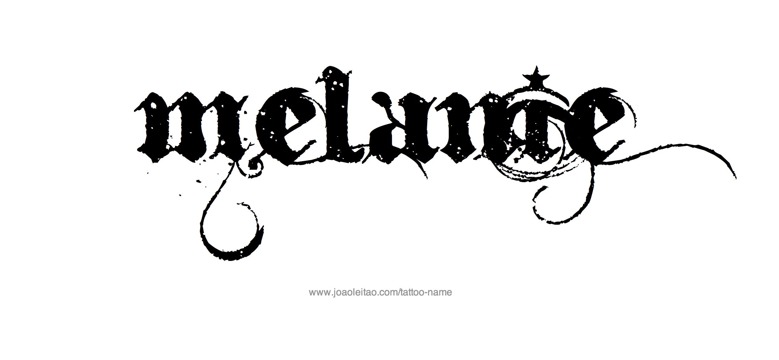 melania name tattoo designs