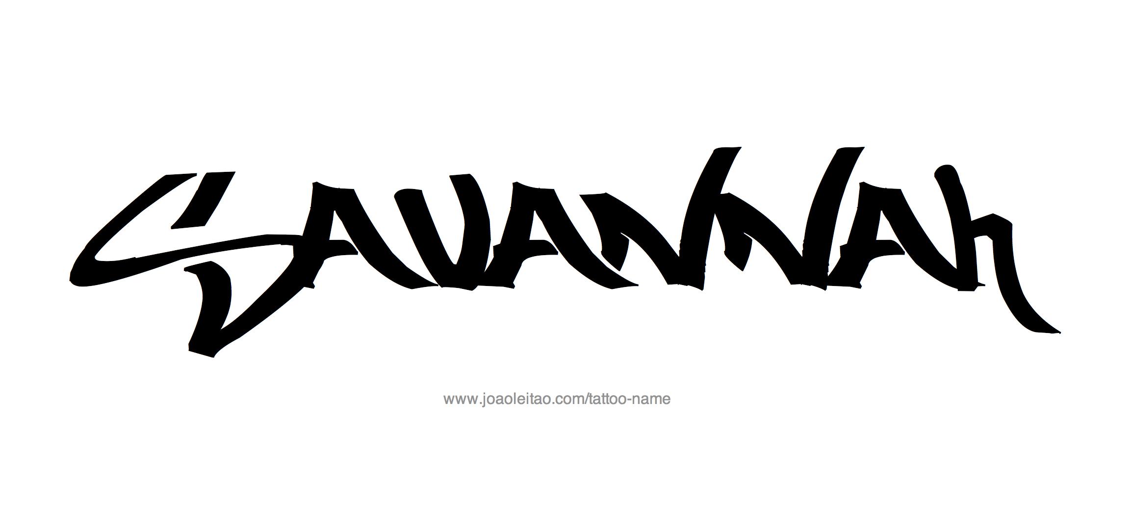 %name%: Savannah Name Tattoo Designs