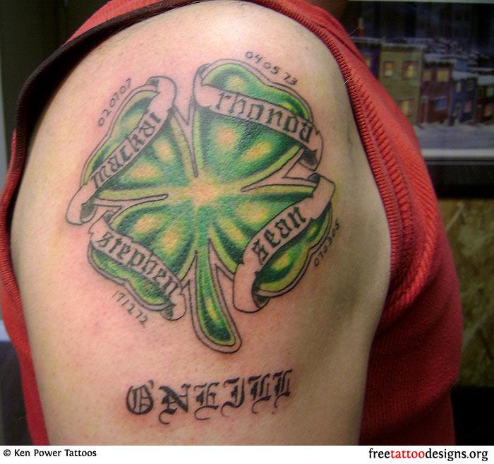 Irish Style Family Names Tattoo Design On The Bicep Name Tattoos