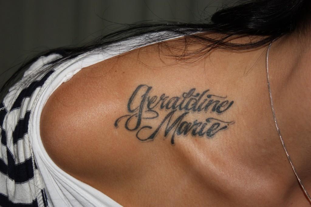 Shoulder Top Name Tattoo Design Idea