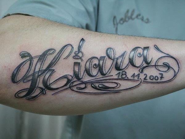 Tatuagem no Braço com Nome e Data
