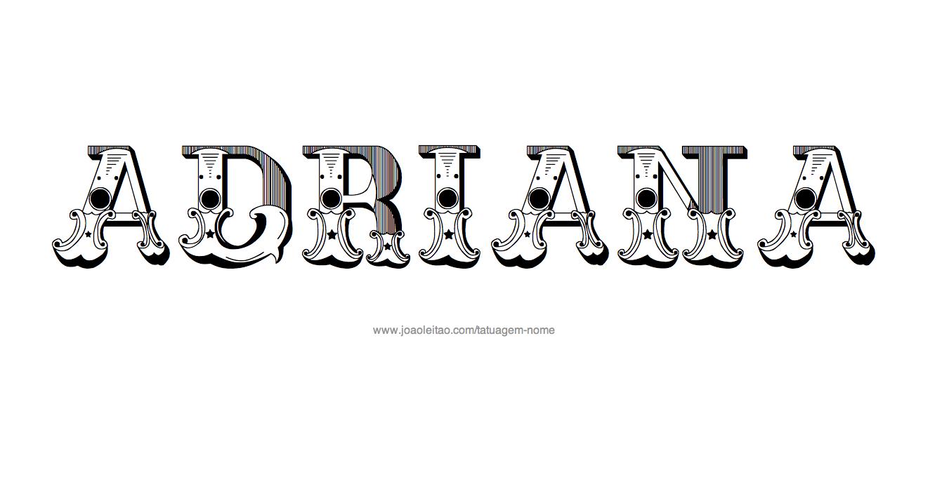 Desenho de Tatuagem com o Nome Adriana