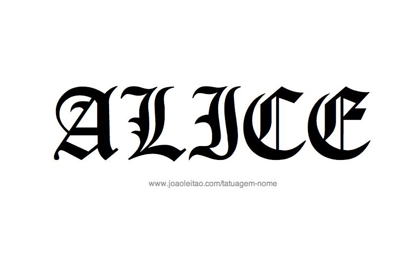 Desenho de Tatuagem com o Nome Alice