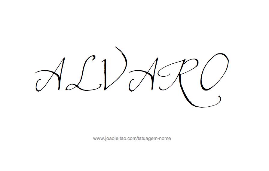 Desenho de Tatuagem com o Nome Álvaro