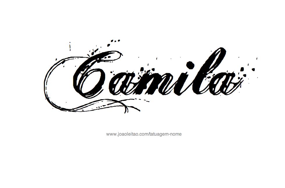 Desenho de Tatuagem com o Nome Camila