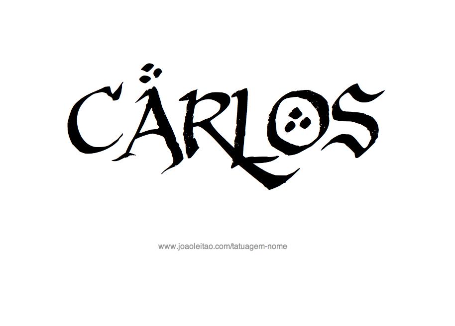 Desenho de Tatuagem com o Nome Carlos