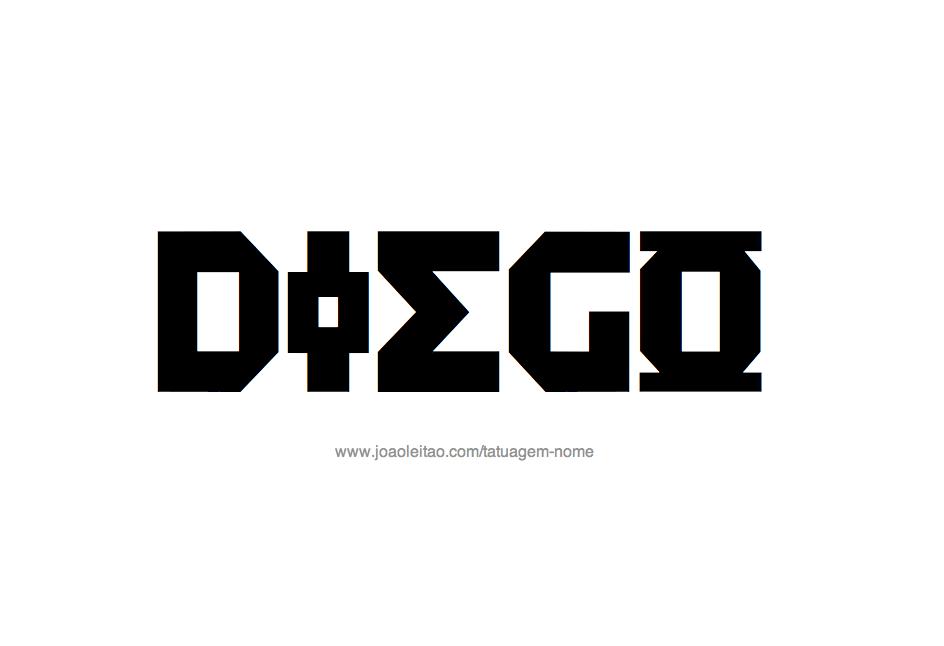Desenho de Tatuagem com o Nome Diego