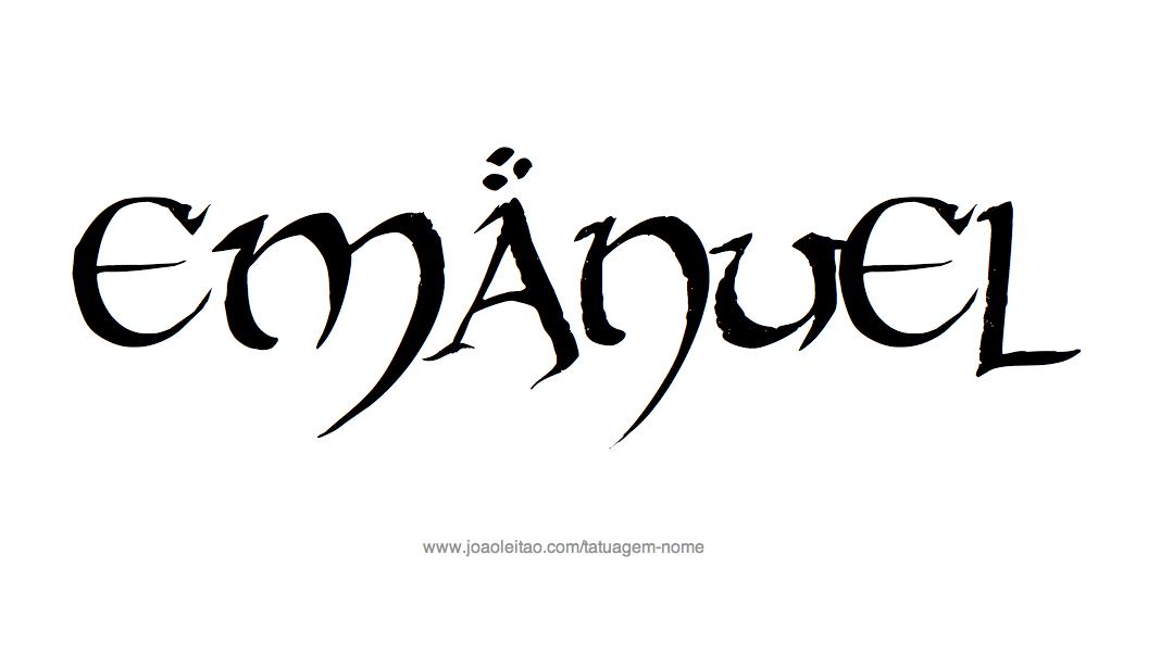 Desenho de Tatuagem com o Nome Emanuel