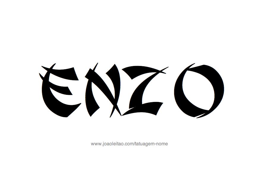 Desenho de Tatuagem com o Nome Enzo