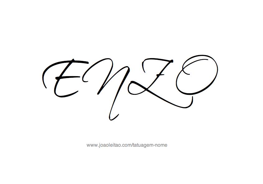 Tatuagem Nome Enzo Caos Moda Feminina