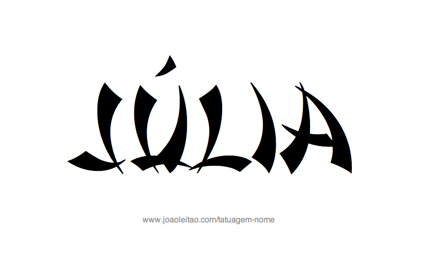 Desenho de Tatuagem com o Nome Julia
