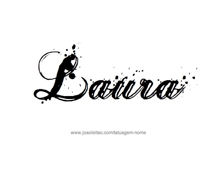 Desenho de Tatuagem com o Nome Laura