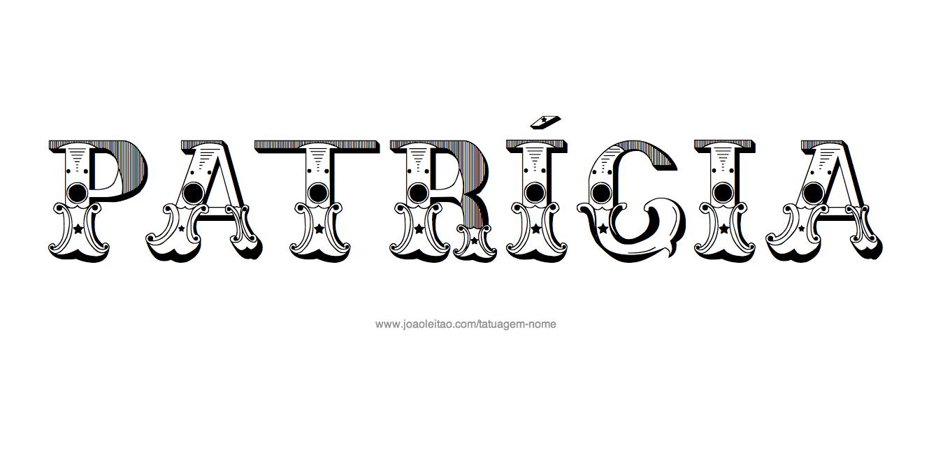 Desenho de Tatuagem com o Nome Patricia