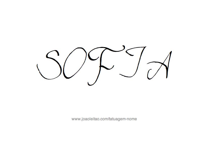 Desenho de Tatuagem com o Nome Sofia