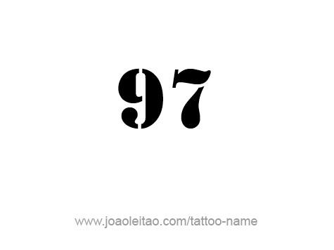 desenho de tatuagem do n mero 97 noventa e sete tatuagem com nome. Black Bedroom Furniture Sets. Home Design Ideas