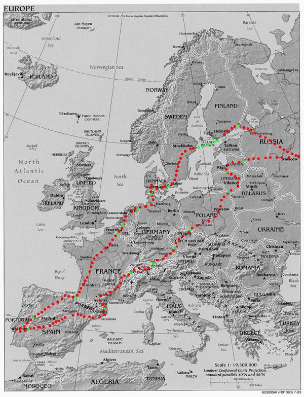 Mapa do percurso Lisboa até Moscovo - Viagem na Europa