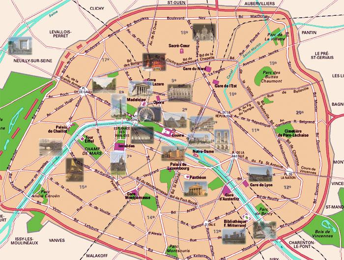 Mapa Monumentos Paris