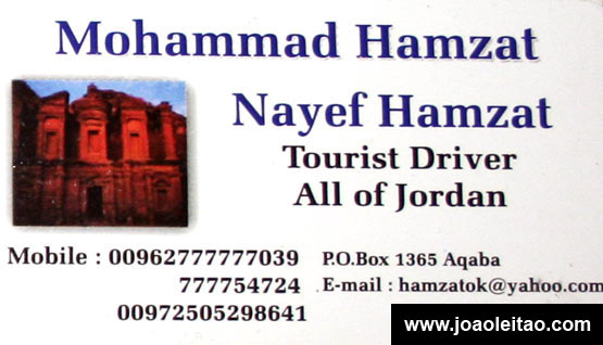 Cartão de visita para Taxi na Jordânia