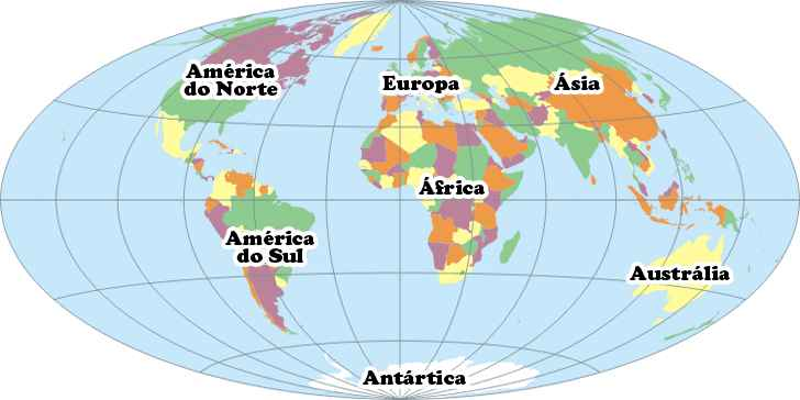 Mapa com todos os 7 continentes: África, Ásia, Pacífico, América do Norte, América do Sul e Antártica