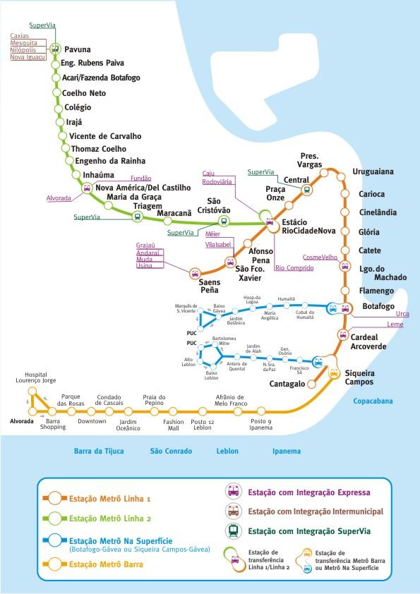 Mapa Metro Rio de Janeiro