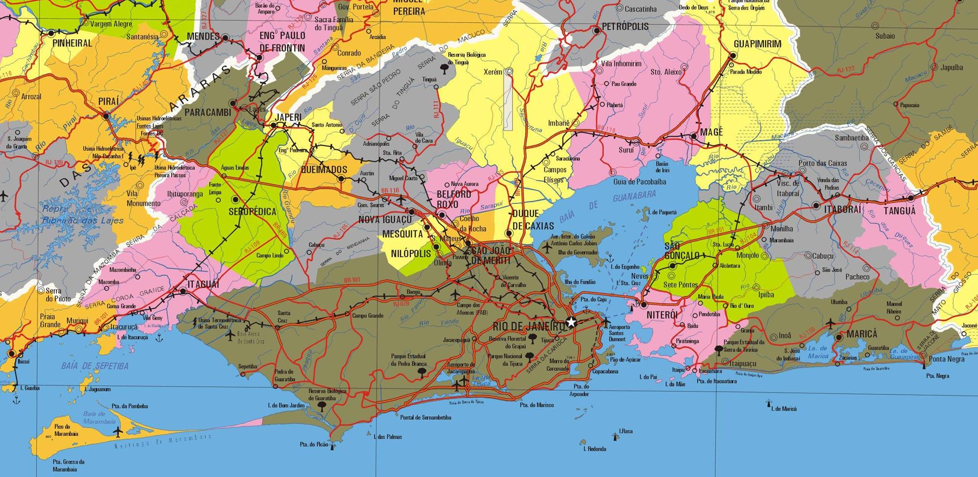 Mapa Regioes Rio de Janeiro