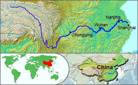 Mapa Rio Yangtze