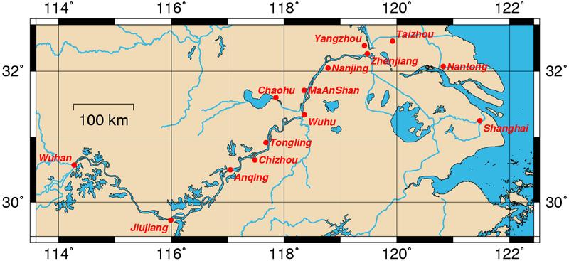 Mapa do Rio Yangtze