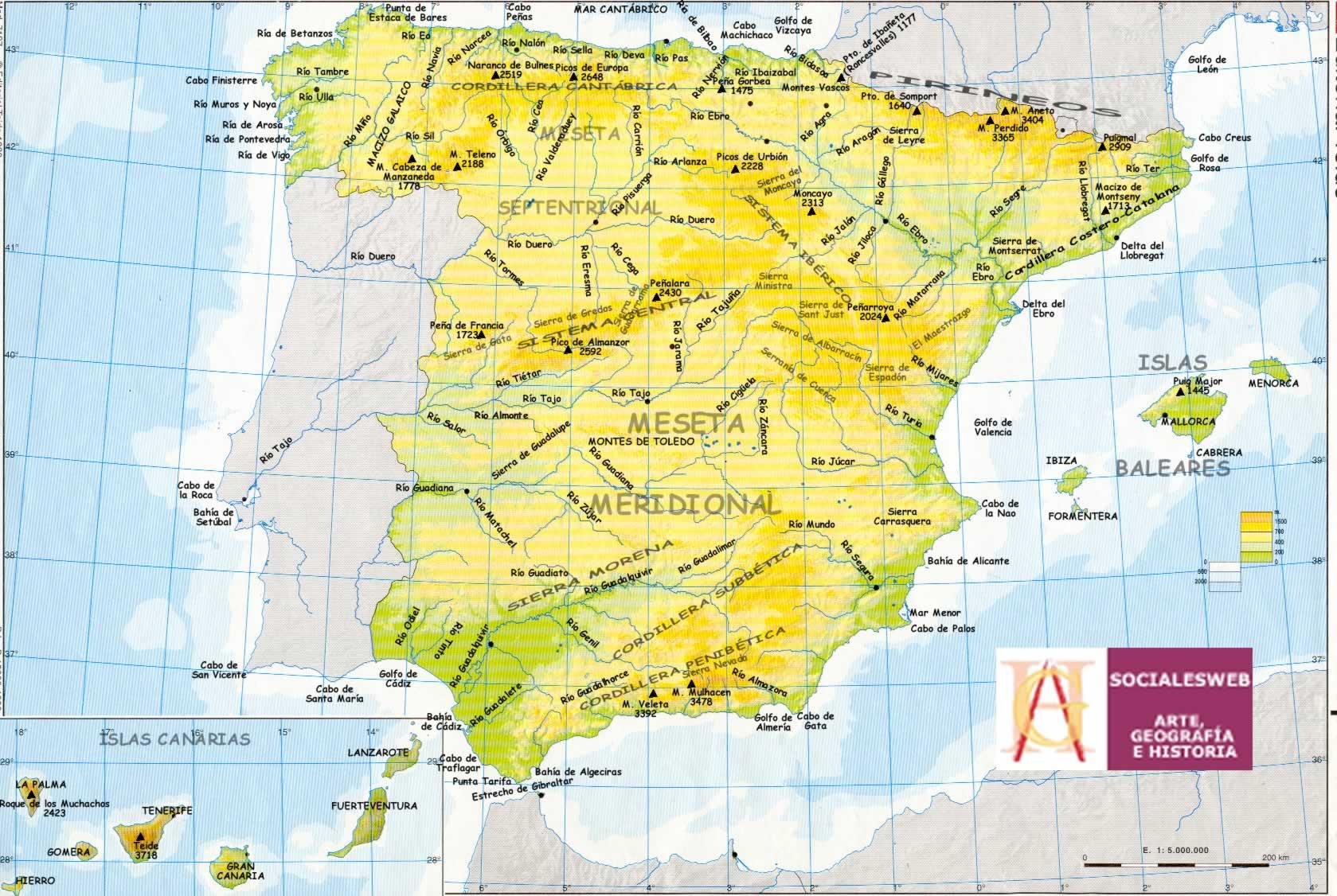 Mapa Geografico Espanha