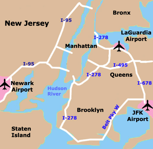 Mapa de Aeropuertos en Nueva York